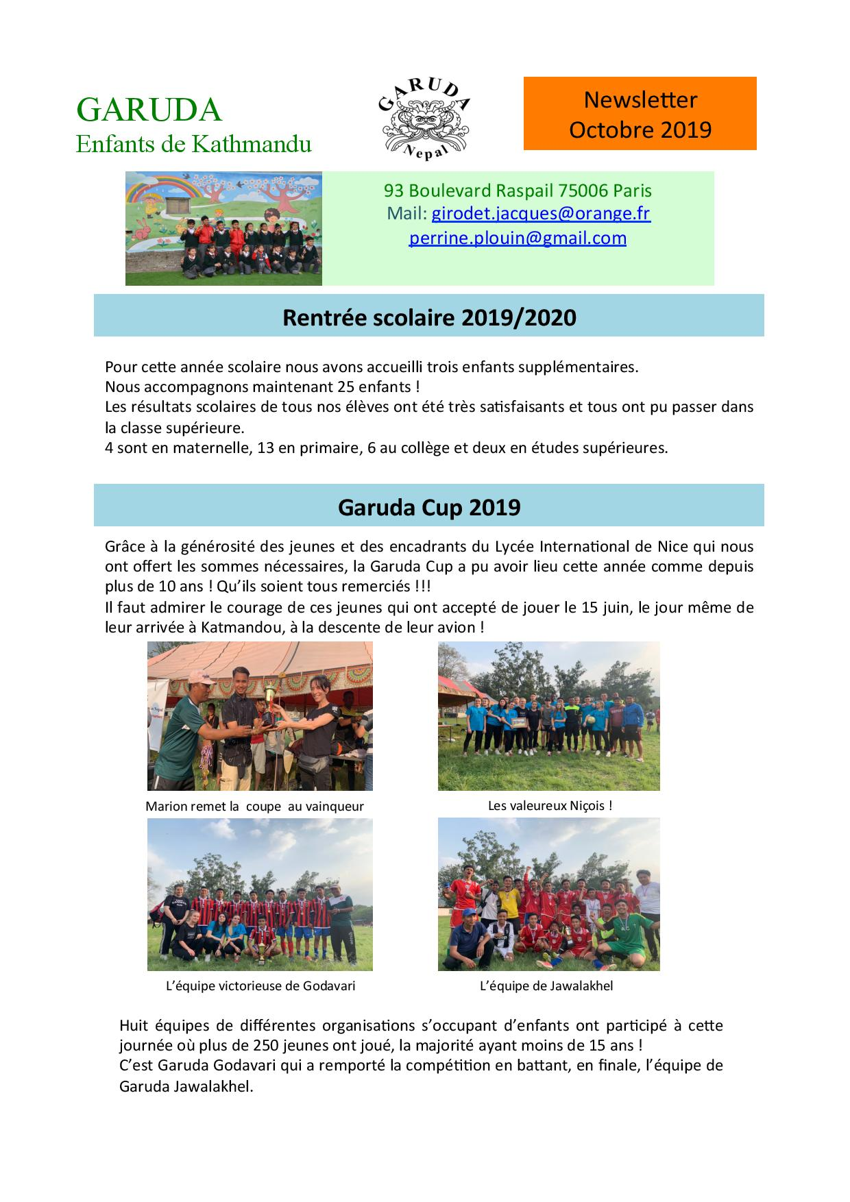 Basecamp Trek Newsletter Octobre 2019